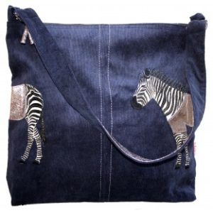 13AB9086 8A7B 454F A13C 1E14BDFC7A33 300x300 - Lua Design Zebra Appliqué Shoulder Bag In Navy