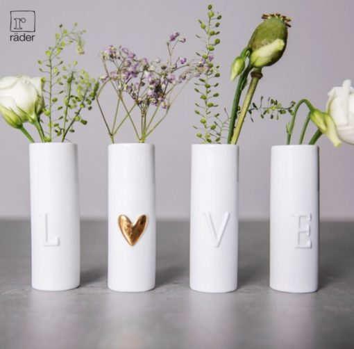 2A0EAD64 57F2 4348 956F D1C4D3019858 510x502 - Rader Design porcelain 'LOVE' Mini Vases Set