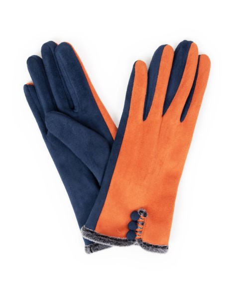 2BE5D381 DC5C 431F 8193 1F1484D95C20 - Powder Amanda Faux Suede Gloves in Tangerine/ Navy
