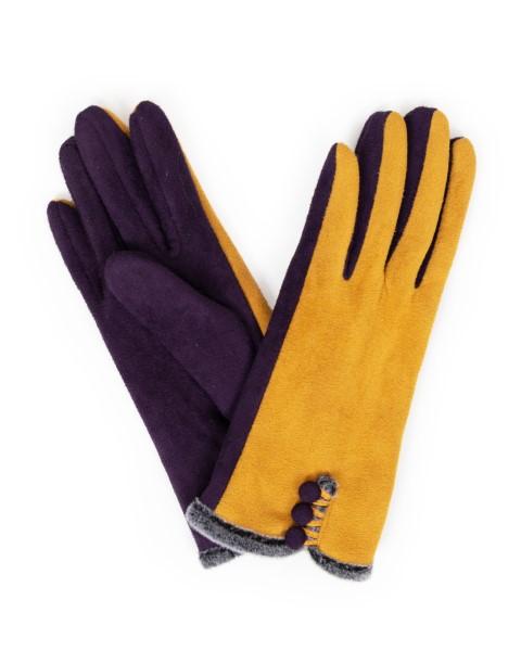 724DB4D7 D34D 41EB A736 38B9BB04822F - Powder Amanda Faux Suede Gloves in Damson/ Mustard