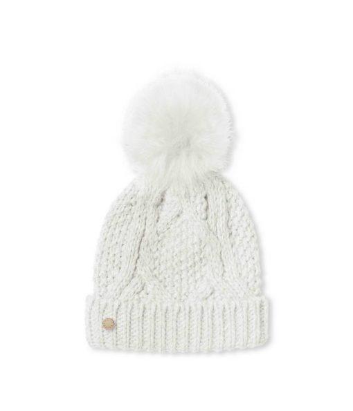 940905CC A291 4B38 9E09 5C48C79B2C92 510x595 - Katie Loxton White Cable Knit Hat