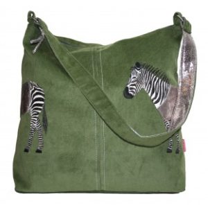 97277D9D 1E89 4603 8E1C 0C59BC30521B 300x300 - Lua Design Zebra Appliqué Shoulder Bag In Olive Green