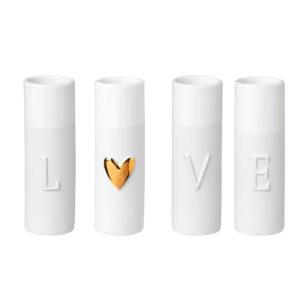 CDFAD1B2 5BD0 49F6 A994 2242F7E518B5 300x300 - Rader Design porcelain 'LOVE' Mini Vases Set