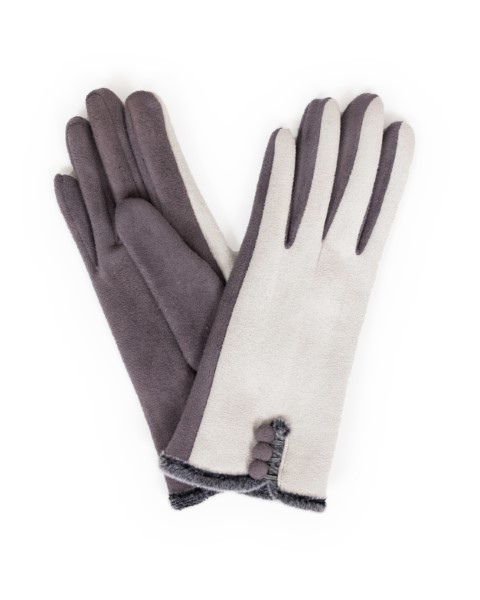 FB7D71B7 7723 4146 A607 D5FC5AE17EA9 - Powder Amanda Faux Suede Gloves in Charcoal/ Slate