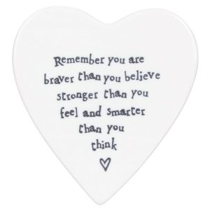 east of india heart coaster remember 300x300 - You're Braver Than You Think Porcelain Coaster by East of India