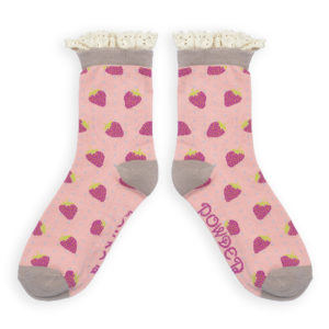 powder design lace top strawberry ankle socks pink 300x300 - Lace Top Strawberry Ankle Socks Pink by Powder Design