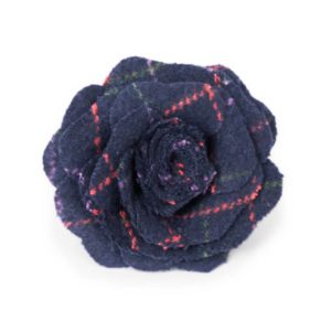 powder design rose brooch tartan navy 300x300 - Rose Brooch Tartan by Powder Design