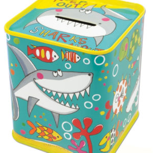 rachel ellen sqaure money box tin sharks about 300x300 - Sharks About Square Money Box Tin by Rachel Ellen