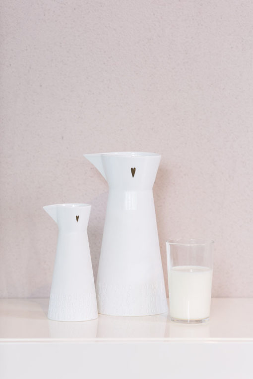 rader breakfast sml lrg porcelain pitchers propped 510x765 - Breakfast Small Porcelain Pitcher by Rader
